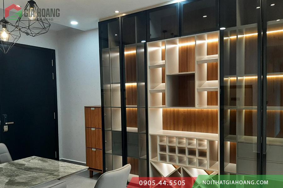 Công trình tủ cánh kính nội thất tại căn hộ cao cấp Vista