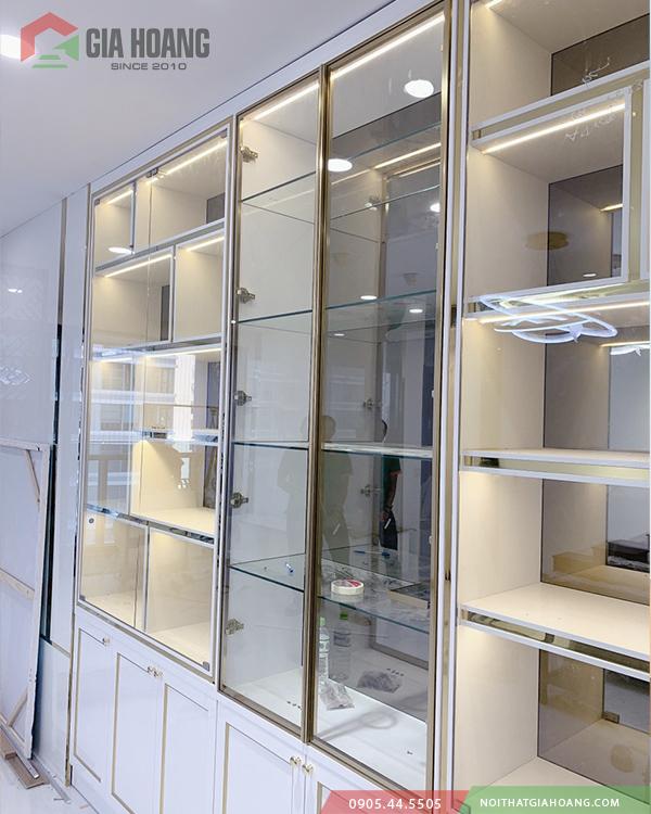 Tủ trang trí trưng bày hệ cánh kính Gia Hoàng