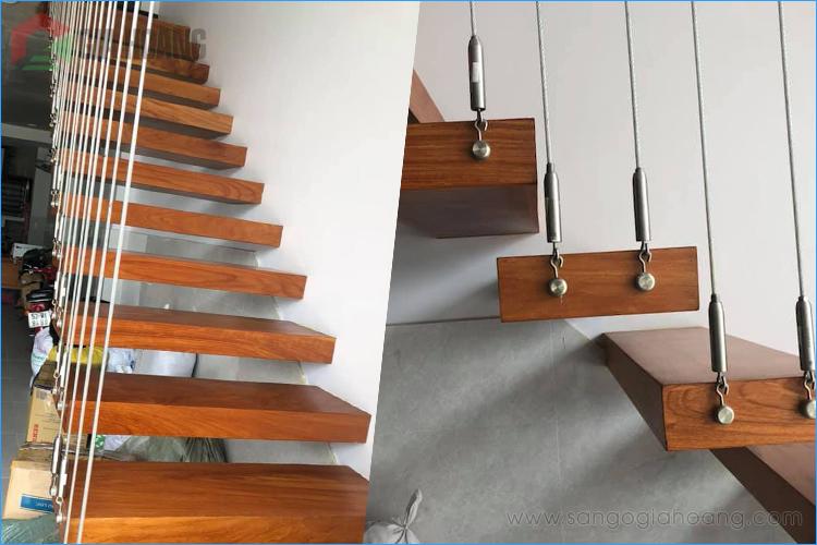 Cầu thang gỗ Gõ Đỏ bậc treo phong cách - Gia Hoàng.,Ltd