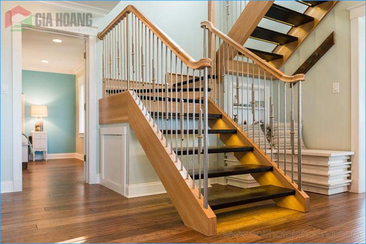 Mẫu cầu thang gỗ sắt đơn giản
