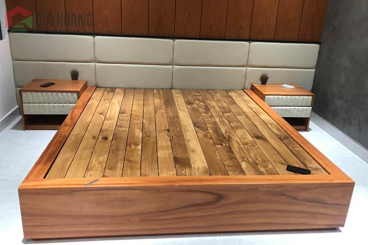 Công trình tủ gỗ  - kệ TV - giường gỗ Gõ Đỏ tại quận 12 , HCM