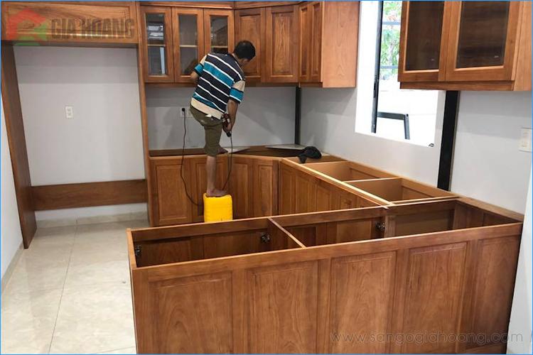 Công trình tủ bếp gỗ Gõ Đỏ thi công - Gia Hoàng.,Ltd