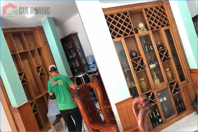 Tủ rượu âm tường từ Gõ Đỏ Nam Phi cao cấp - Gia Hoàng.,Ltd