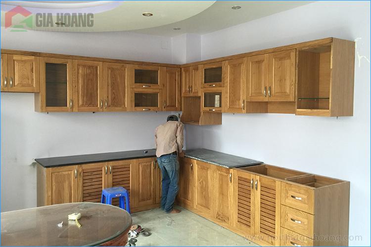 Thi công tủ bếp gỗ Sồi - Nội thất Gia Hoàng