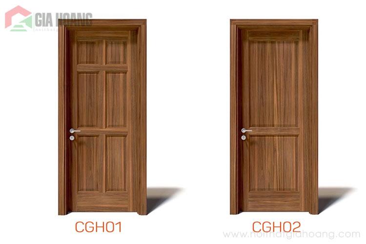 Thiết kế cửa gỗ chia ô vân gỗ dọc 2020