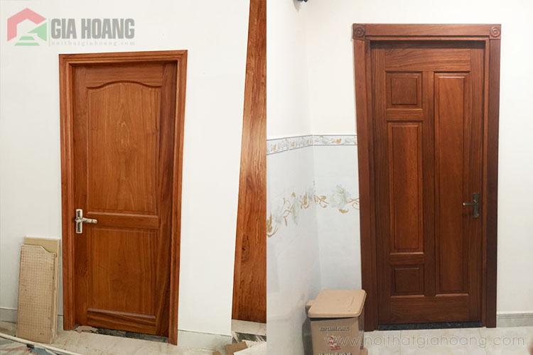 Thực tế cửa gỗ Căm Xe được thiết kế và thi công hoàn thiện