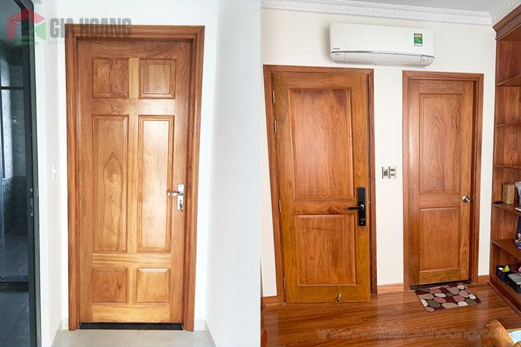Mẫu cửa gỗ tự nhiên Gõ Đỏ Nam Phi thực tế Gia Hoàng sản xuất