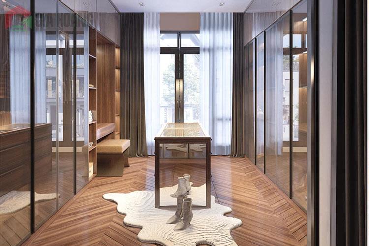 Tủ cửa kính khung nhôm cho phòng thay đồ thời trang sang trọng