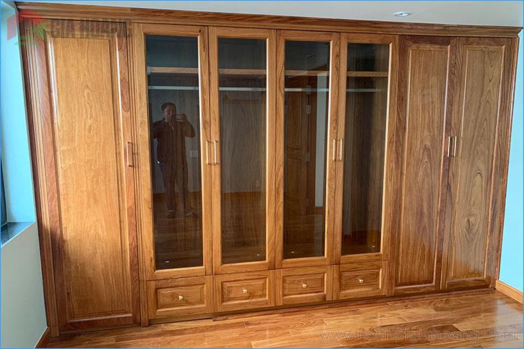 Tủ tường gỗ Gõ Đỏ có ốp kính