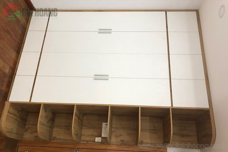 Tủ tường gỗ công nghiệp thiết kế khung gỗ