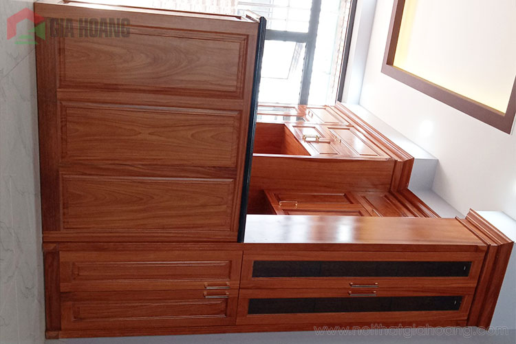 Thiết kế tủ bếp chữ L kèm quầy bar