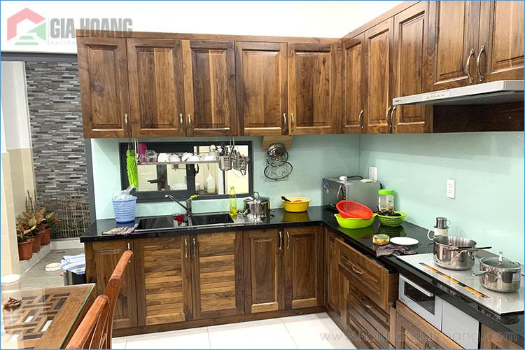 Thiết kế tủ bếp gỗ Óc Chó chữ L