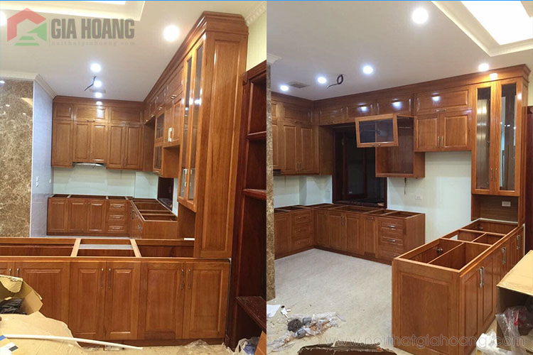 Trọn bộ nội thất tủ bếp gỗ Gõ Đỏ sang trọng